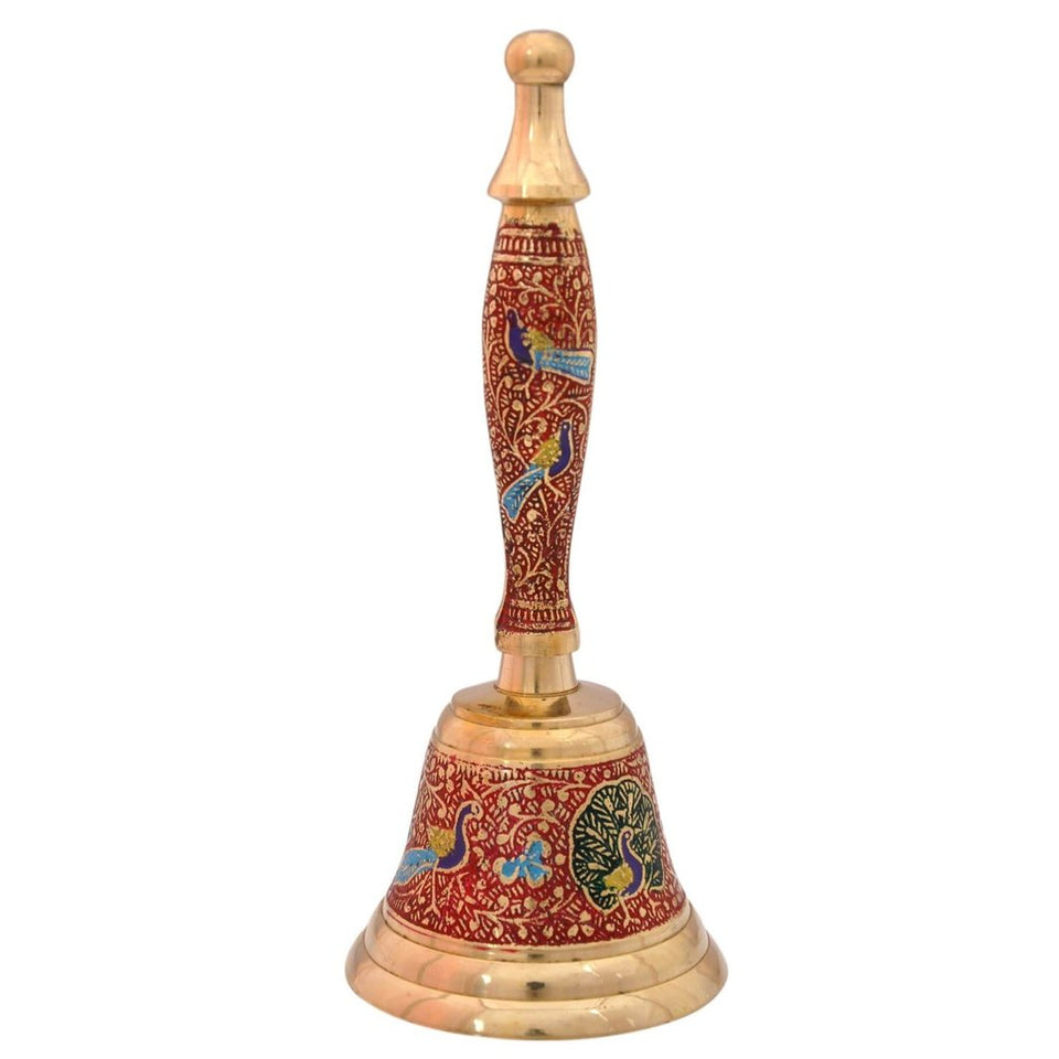 Decorative Hand Held Brass Bell | Red Color