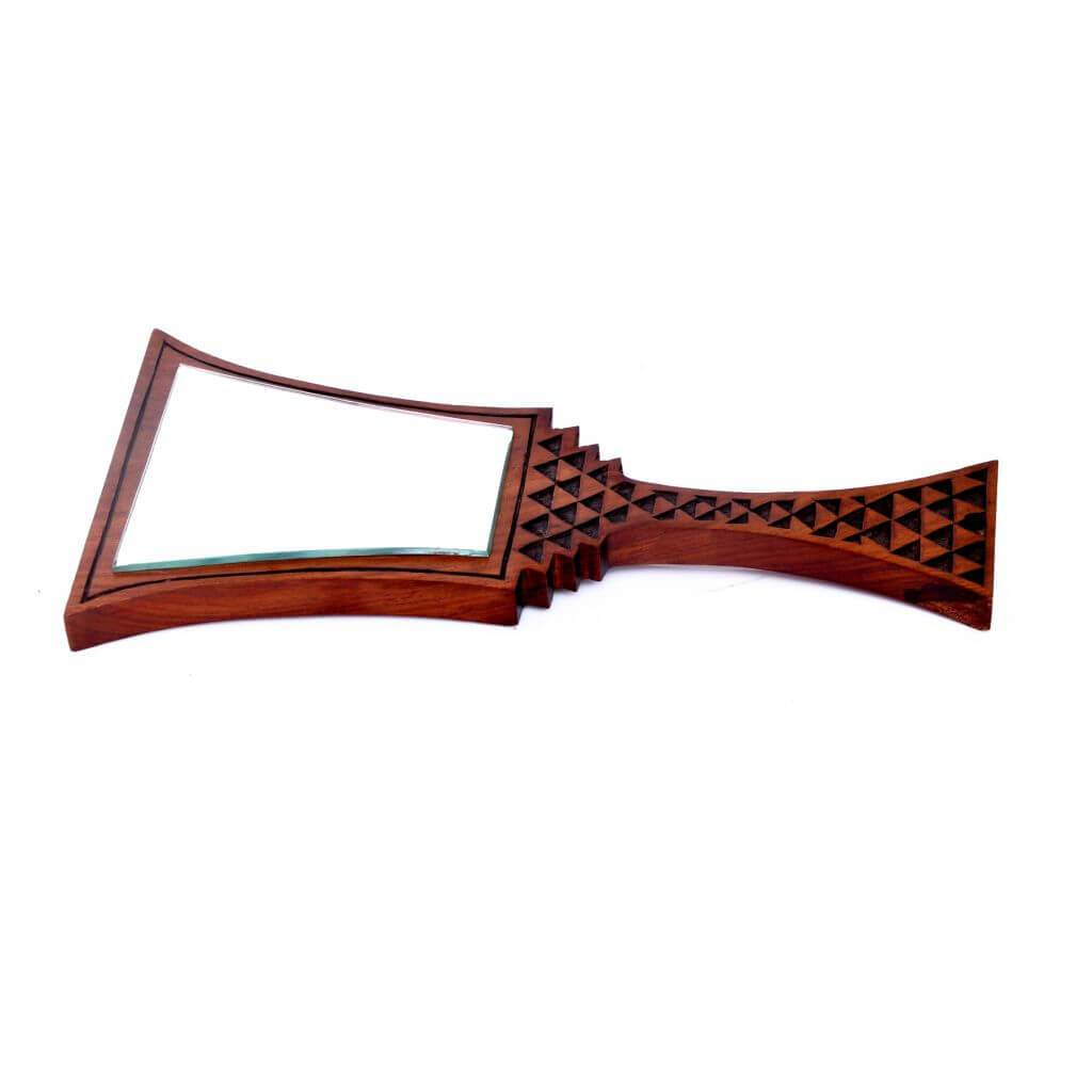 Handcraved Sheesham Wood Hand-Held Mirror