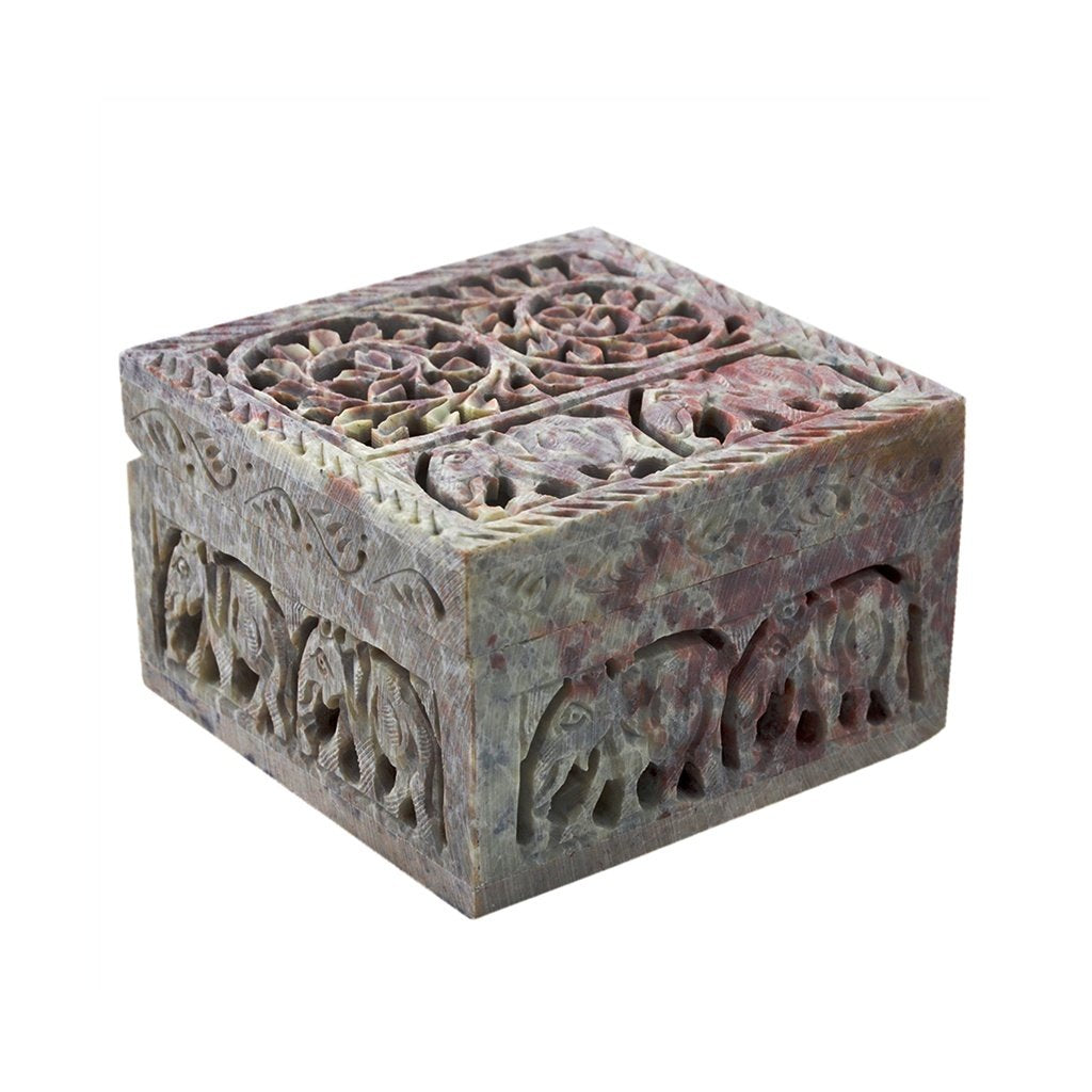 Elephant and Floral Carving Marble Jewellery Box