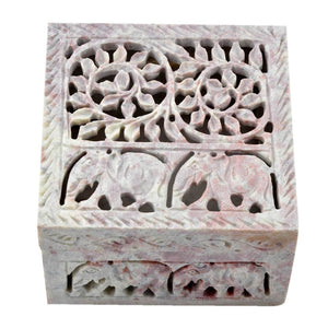 Handmade Stone Jewelry Box With Traditional Design(4x4 Inch)