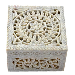 Decorative Handcarved Soapstone Box (4x4 Inch)