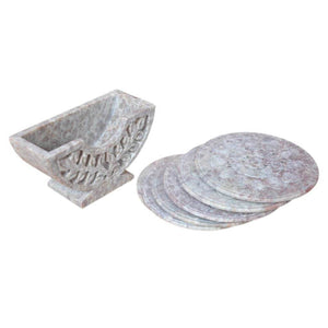Soapstone Hand Carved Coasters Set 6 Piece