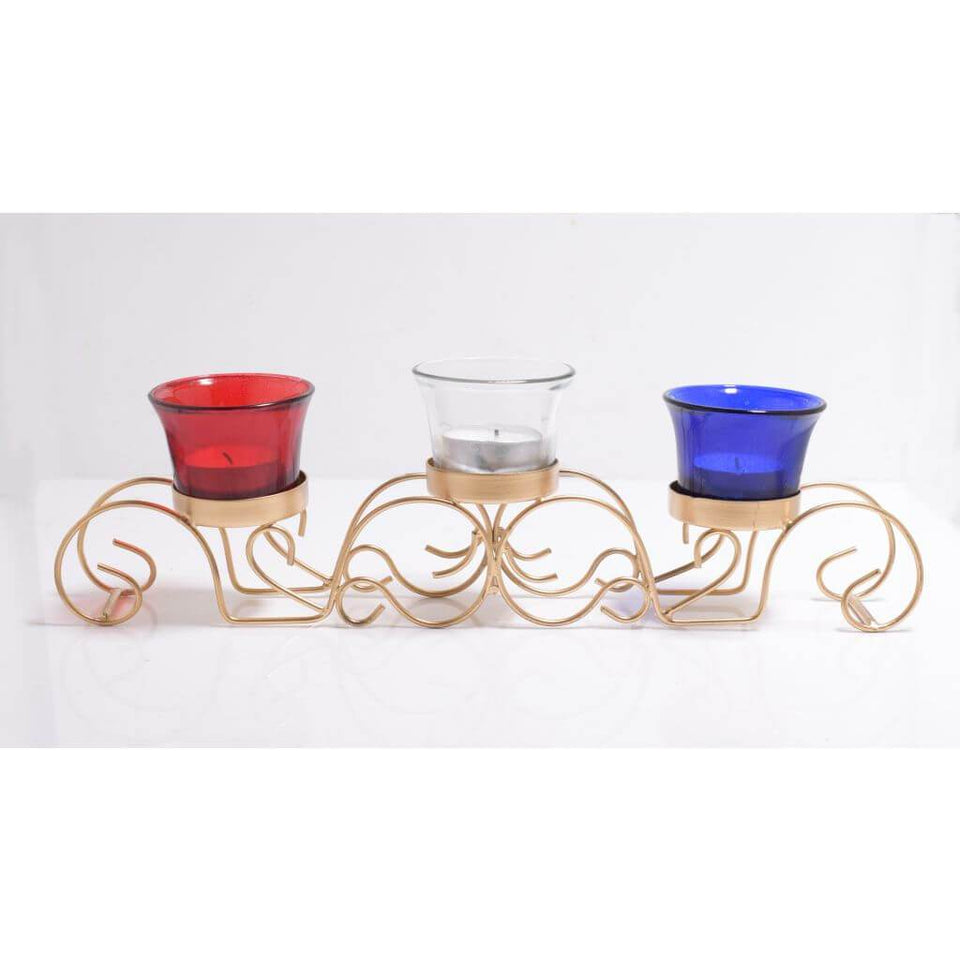Traditional Metal Votive Holder With 3 Votive Glasses