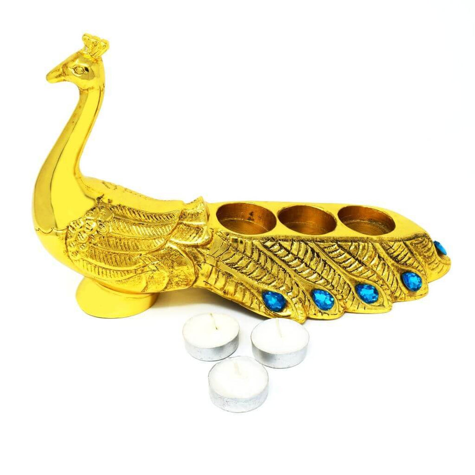 Peacock Table Top Tealight Candle Holder