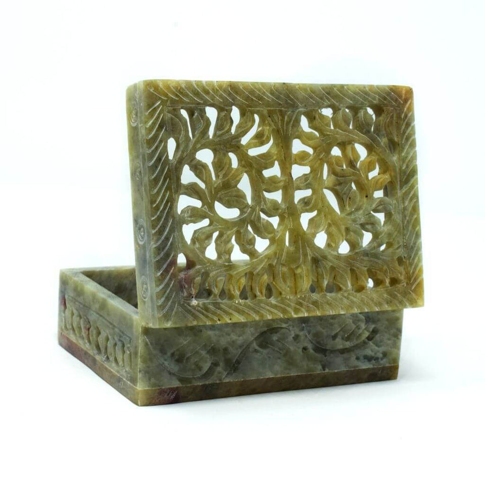 Decorative Handcarved Soapstone Box (4x3 Inch)