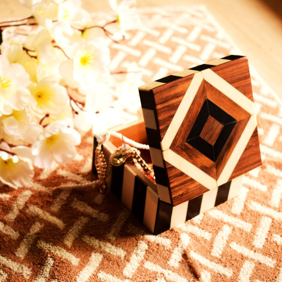 Decorative Colorful Gift Box Made of Wood
