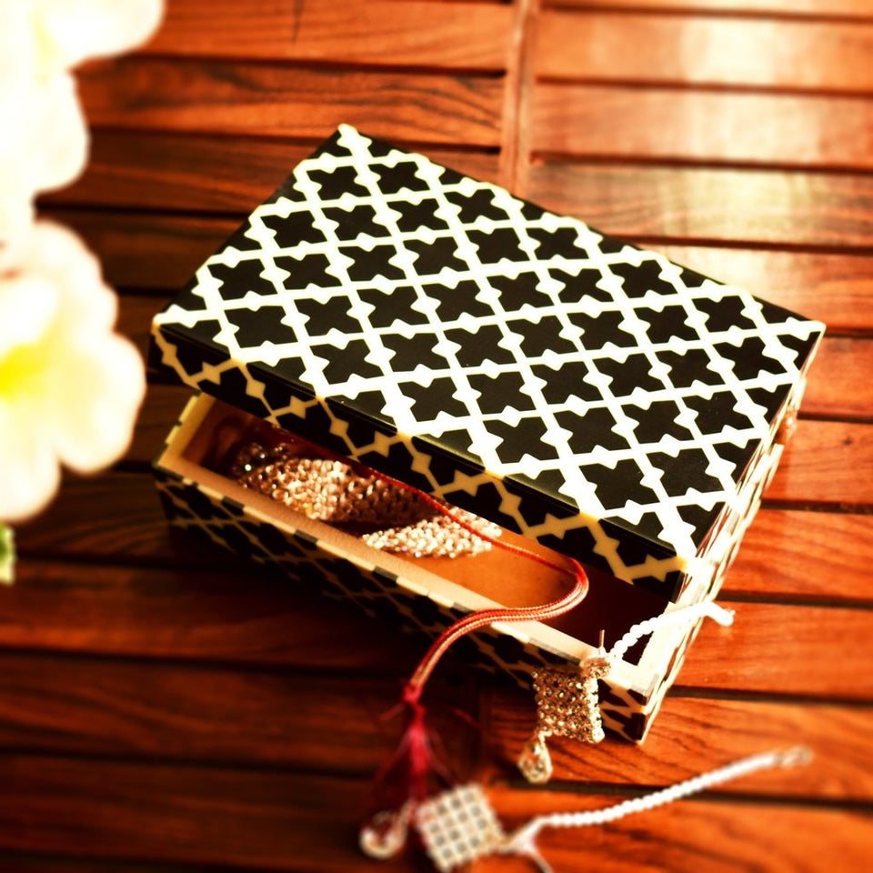 Wooden Jewlry Gift Box with Colorful Pattern