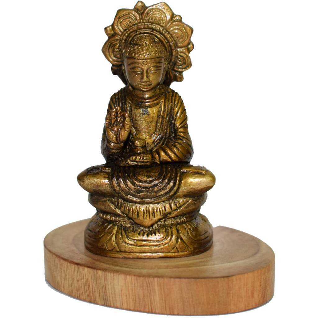 Decorative Brass Buddha Statue With Wooden Base