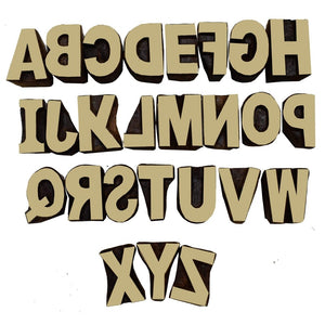 English Alphabets Wooden Printing Stamps | Inverted for Printing
