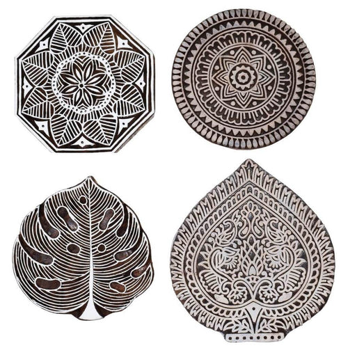 Hand Craved Mughal Design Wooden Printing Stamps (Set of 4)