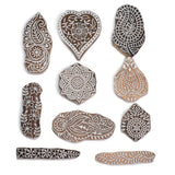 Sheesham Wood Mughal Design Printing Stamps (Set of 10)