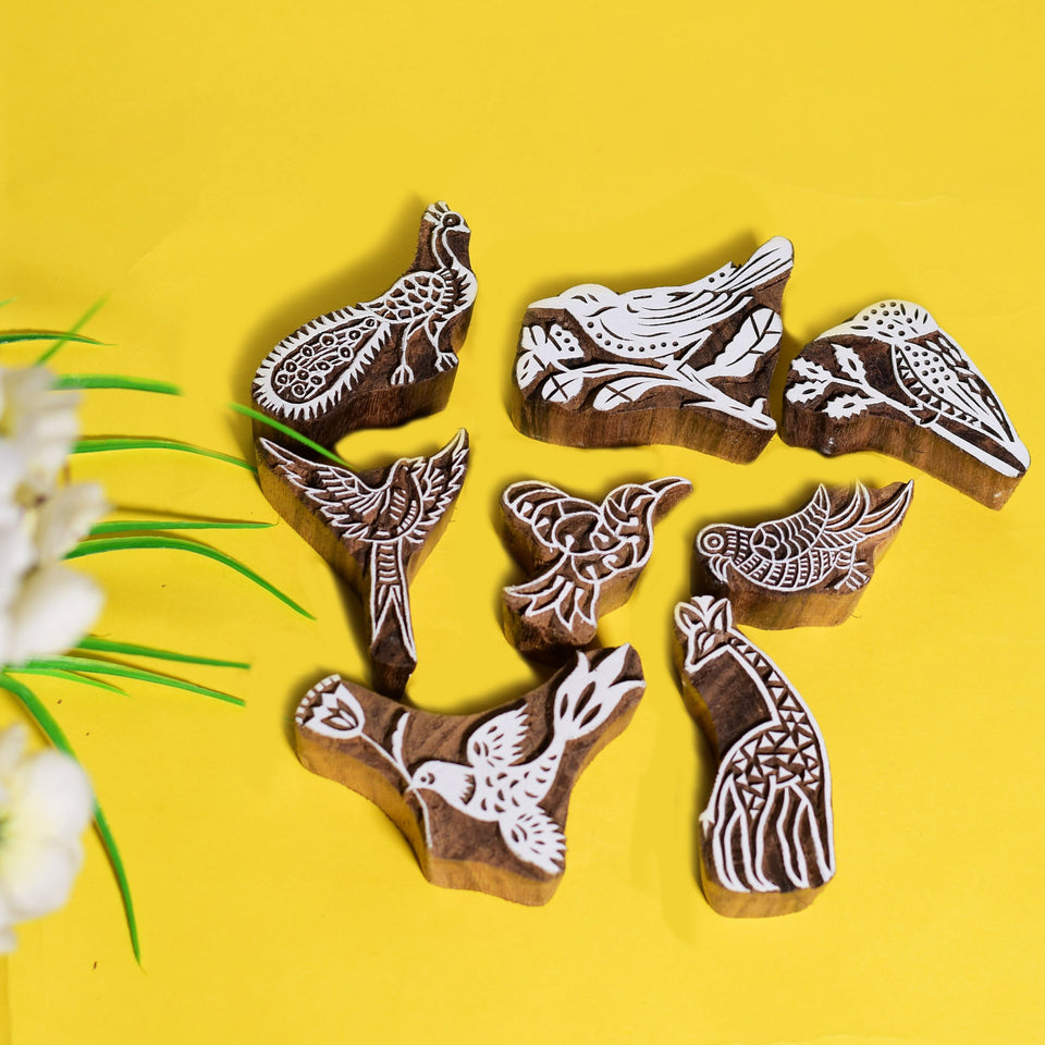 Birds Design Hand Carved Wooden Printing Blocks (Set of 8)
