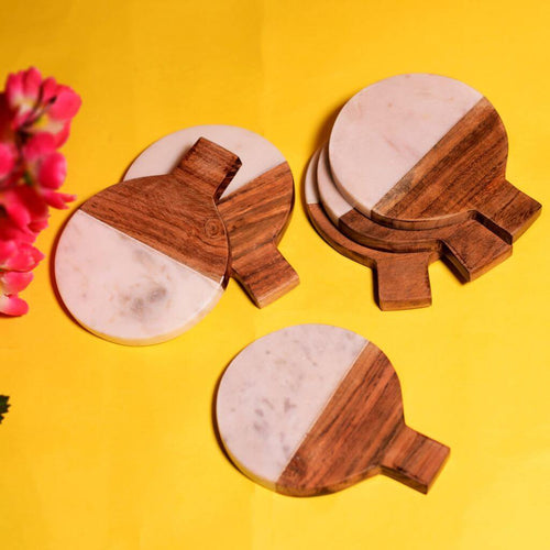 Wood & Stone Combination Coaster Set