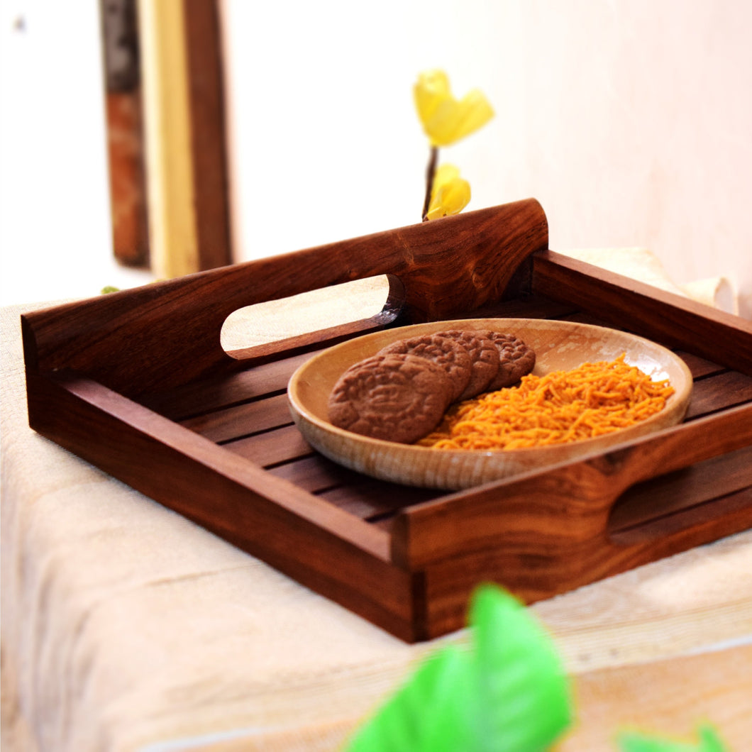 Handmade Sheesham Wooden Serving Tray (10x10)