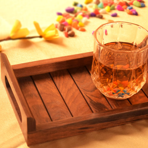 Handcrafted Indian Sheesham Wood Serving Tray (13x6 inch)