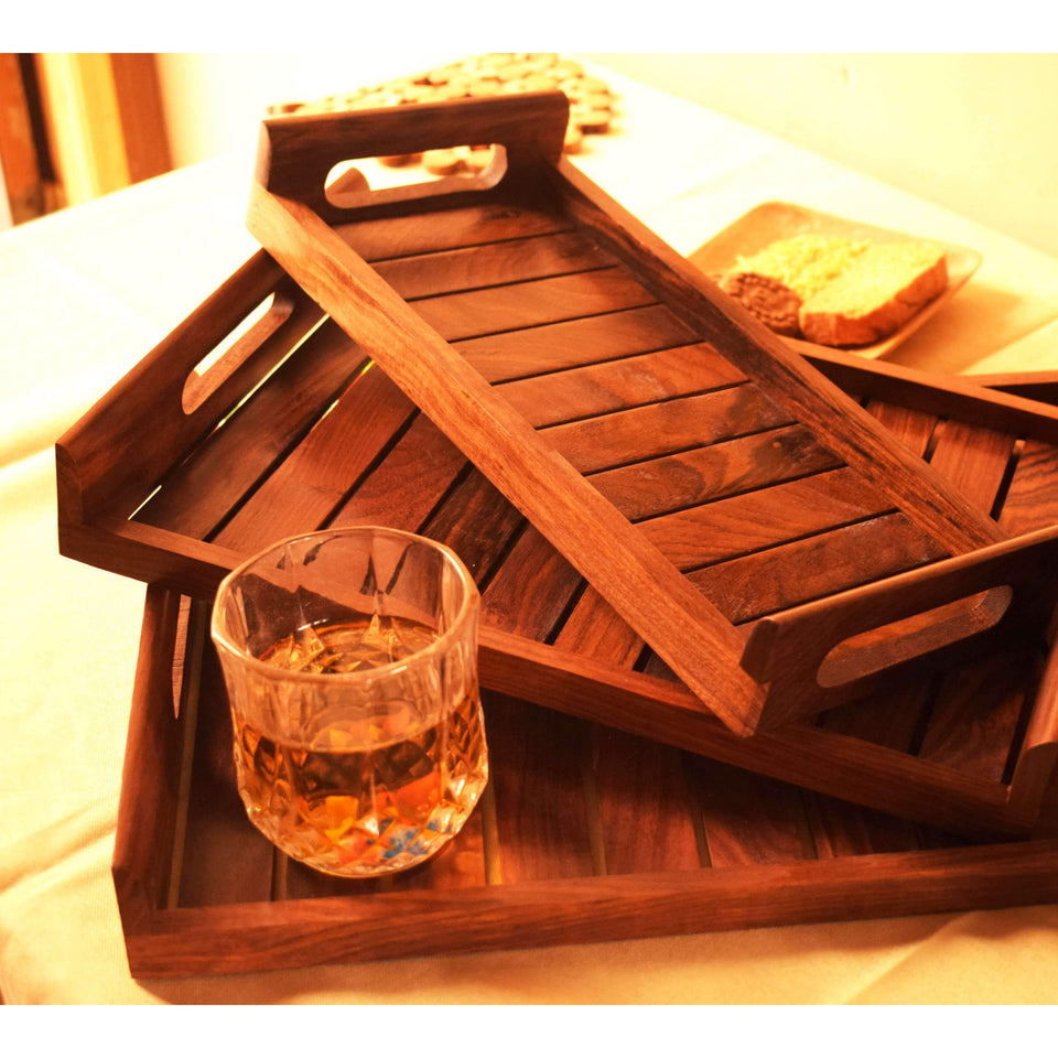 Handmade Sheesham Wood Serving Tray (Set of 3)