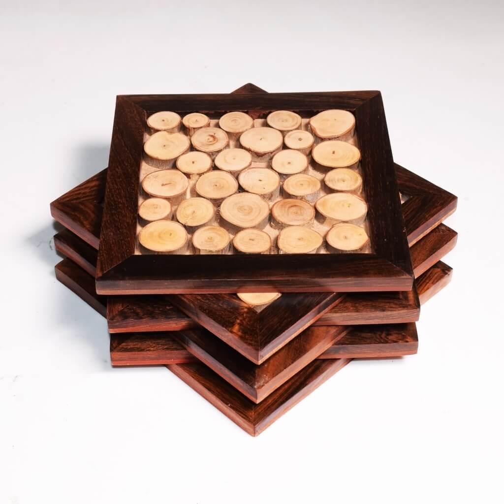 Tree Slice Coasters For Dining Table | 5x5 Inch