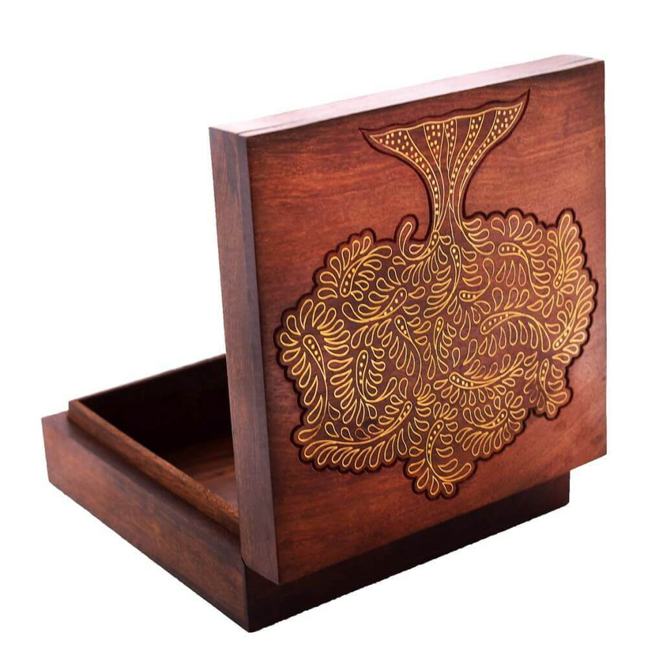 Handmade Wooden Jewellery Box With Brass Inlay Work