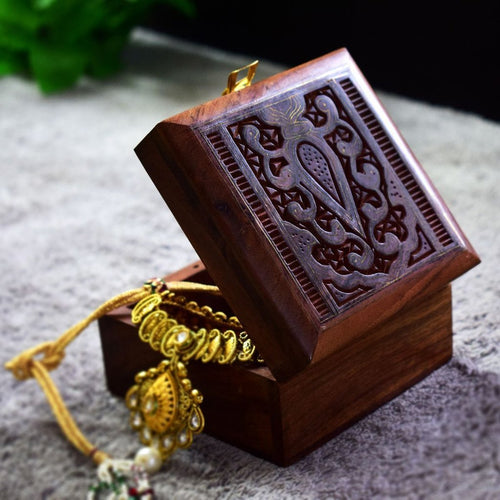 Indian Rosewood Handicraft Trinket Box