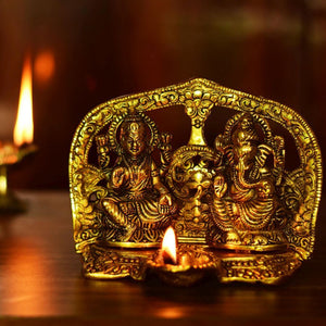 Antique Gold Plated Laxmi Ganesh Diya