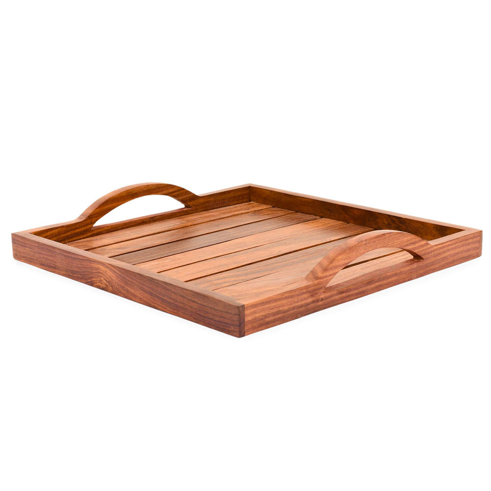 Handcrafted Sheesham Wooden Tray For Dining Table (12x12 inch)