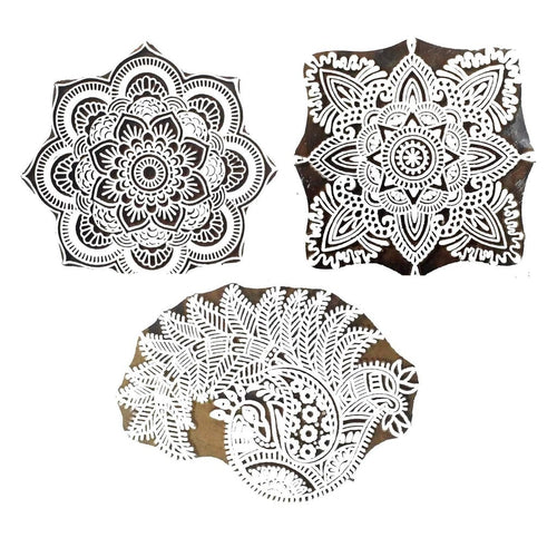 Big Size Set of 3 Wooden Printing Stamps