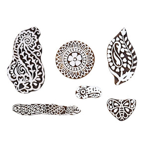 Sheesham Wood Stamps for Scrapbooking, Tatoo & Heena Printing