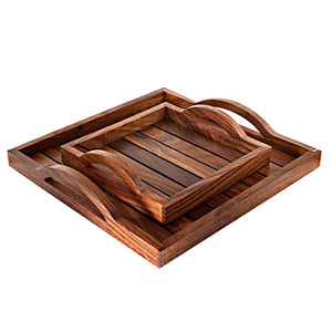 Handmade Wooden Serving Tray For Dining Table (Set of 2)