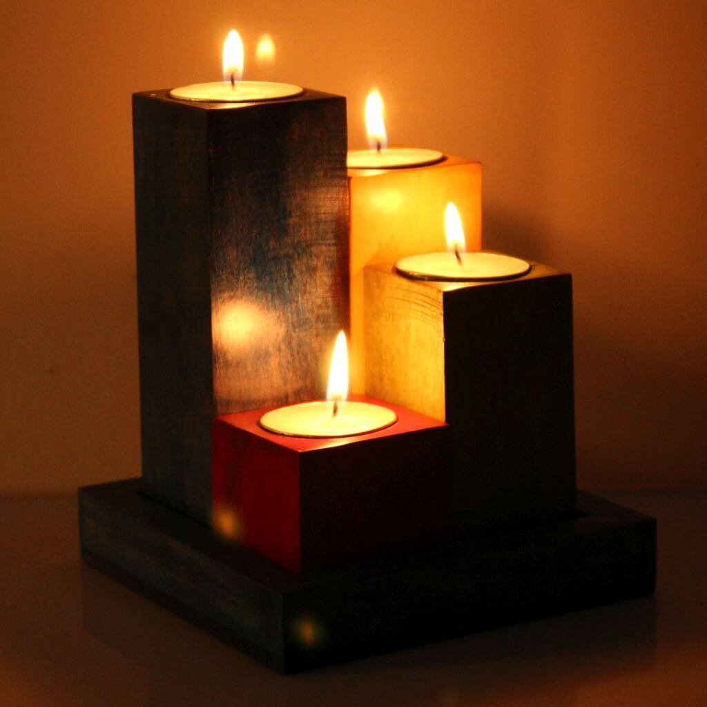 Wooden Tea Light Candle Holder With Wooden Base