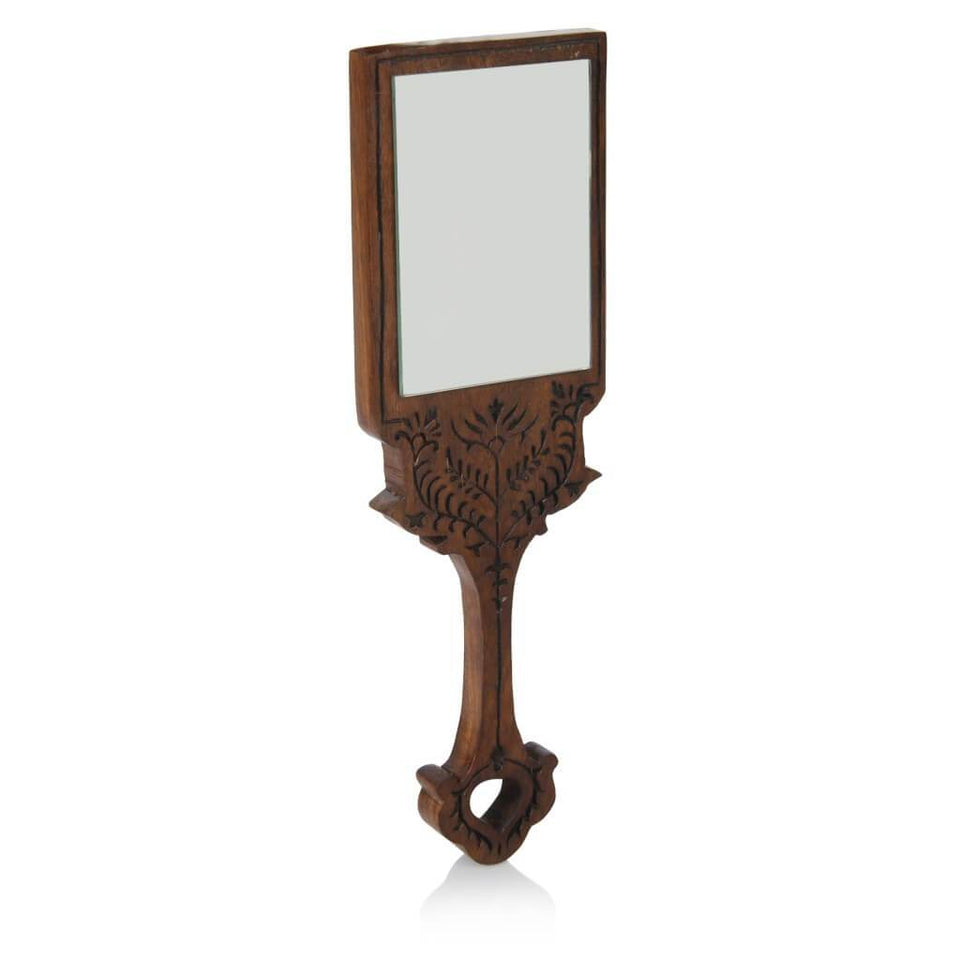 Hand Craved Sheesham Wood Hand-Held Mirror