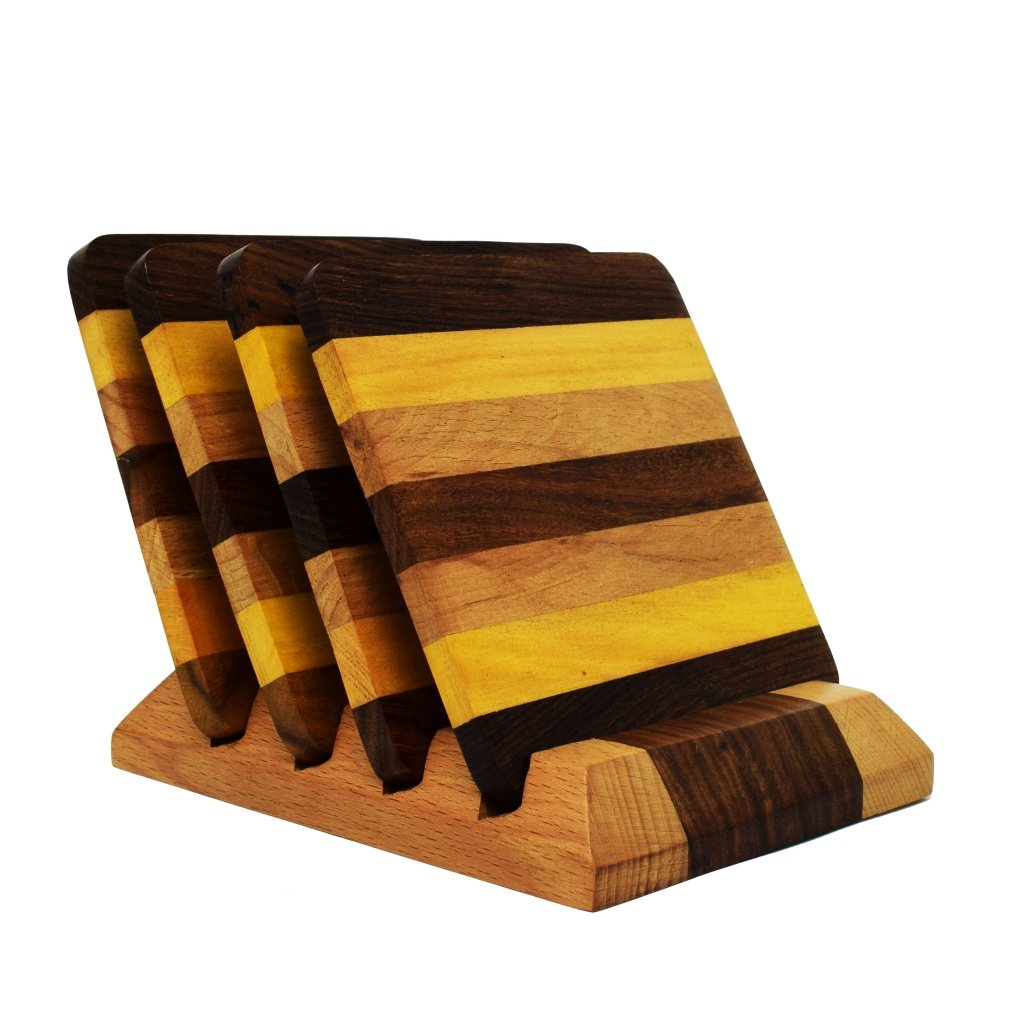 Line Patterned Wooden Coasters (Set of 4)