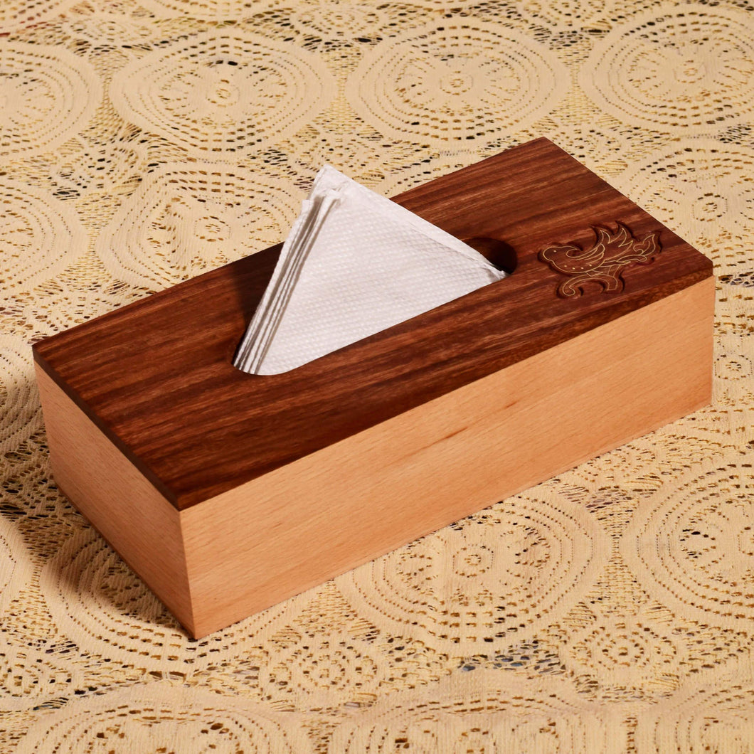 Pigeon Carved Beach Wood Tissue Box Holder