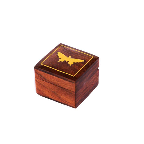 Butterfly Pattern Brass Work Wooden Box