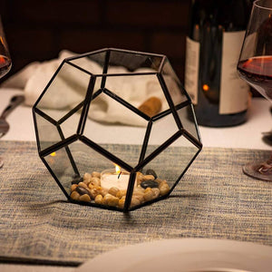 Pentagon Ball Shape Geometric Glass Terrarium Candle Holder