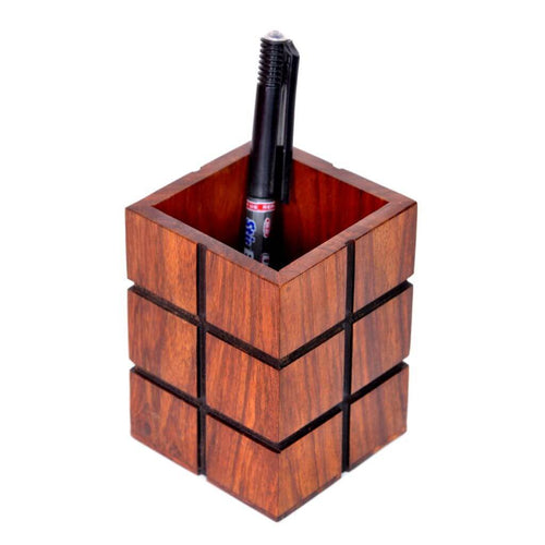 Handmade Rosewood Pen Holder, Brown