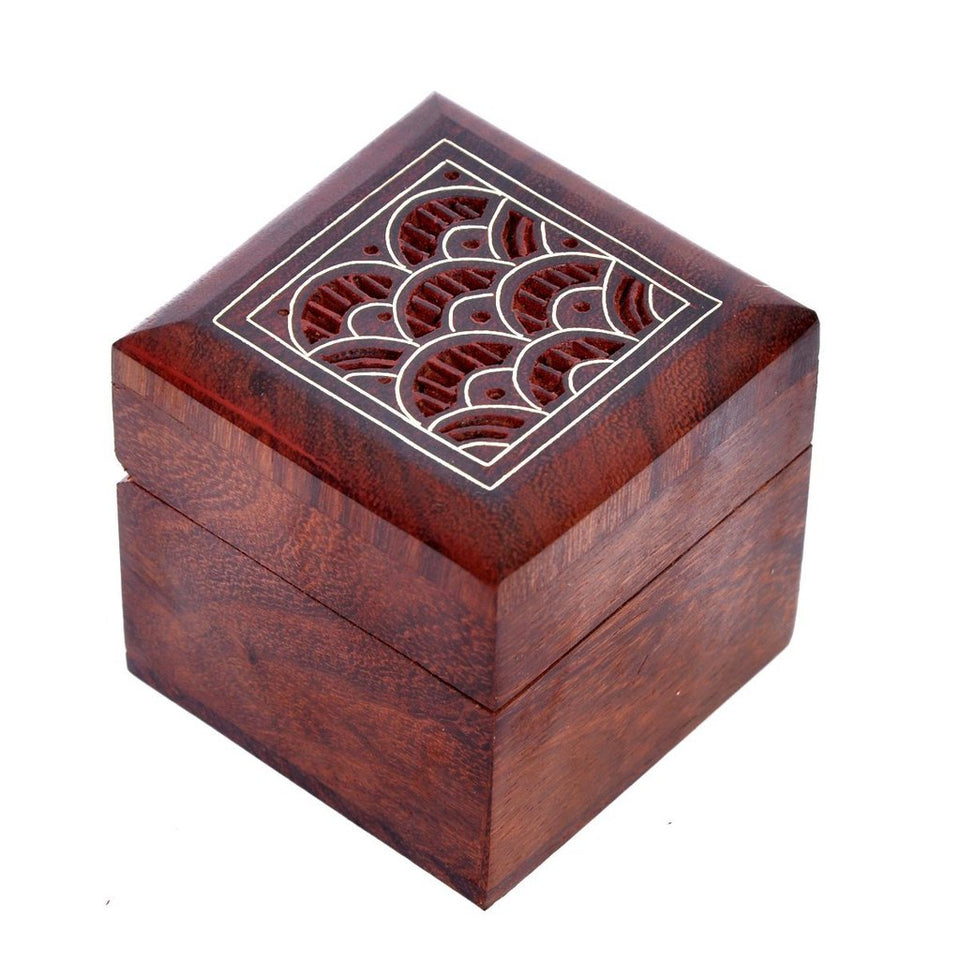 Hand Engraved Design Indian Square Keepsake Box