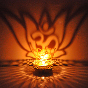 Lotus & OM Shadow Tealight Candle Holder / Stand For Home Decor
