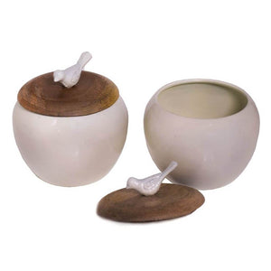 Non-Ceramic White Bowl with Wooden Lid (Set of 2)
