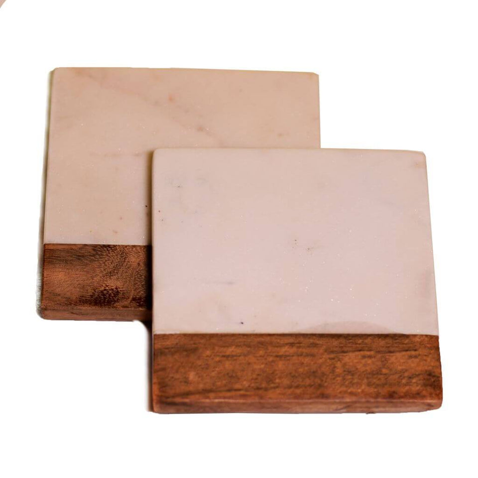Wood & Stone Combination Square Coaster Set