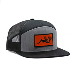 Black and Heathered Orange Patch 7 Panel