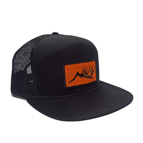 Altitude Orange Patch Hat - Black 7 Panel