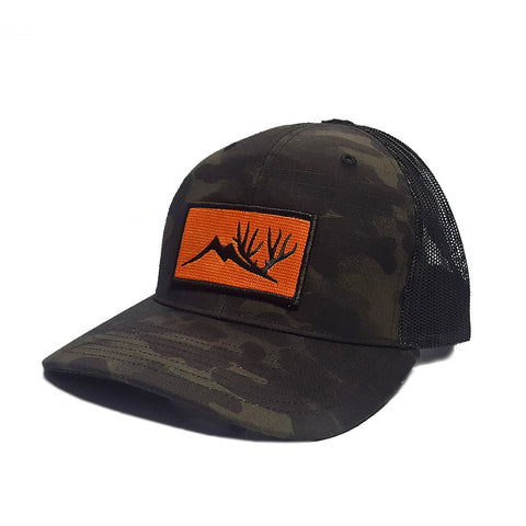 Altitude Orange Patch Hat - Black Multicam Trucker