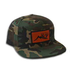 Altitude Orange Patch Hat - Camo Flat Brim Trucker