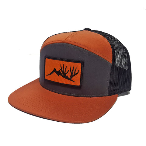 Altitude Orange Patch Hat - Orange and Grey 7 Panel