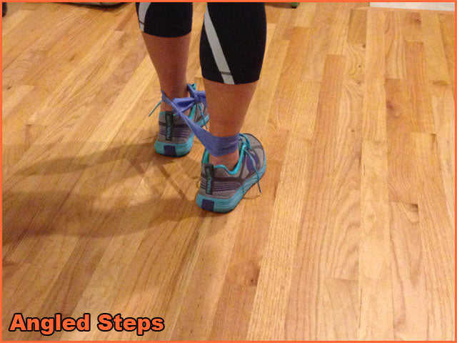 Using a resistance band step backwards at a 45 degree angle from the front foot