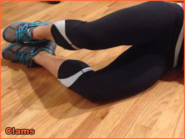 Raise your top knee up and down while making sure your hip is rolled forward.