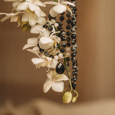 Black Obsidian mala necklace
