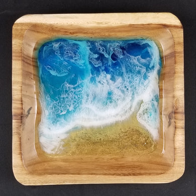 Beach inspired serving tray, bowl, or large catch all with ocean art. Shimmery blue and metallic gold unique resin art on a wood base. Impress your guests with this food safe resin when you entertain. Many layers and depth in the waves. Guaranteed to be one of a kind.