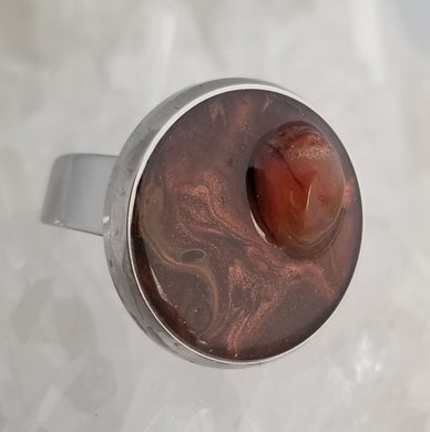 Brown/Copper Ring with Carnelian