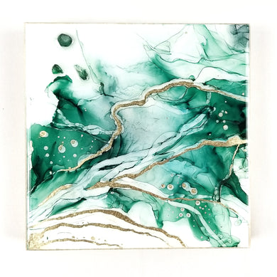 Green Alcohol Ink Art with Emeralds 6x6